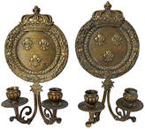 One Kings Lane Vintage 1920s French Bronze Crown Sconces - Set of 2