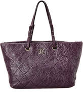 Chanel Purple Quilted Calfskin Matelasse Leather On The Road Tote