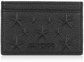 Jimmy Choo DEAN Black Grainy Leather Cardholder with Stars