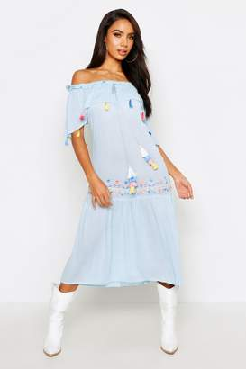 boohoo Bohemian Embroidered Skater Dress