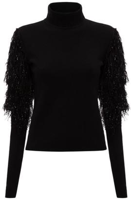 J.W.Anderson Metallic Fringe-Sleeve Turtleneck Sweater