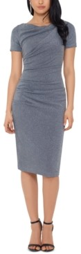 Betsy & Adam Ruched Glitter-Knit Sheath Dress