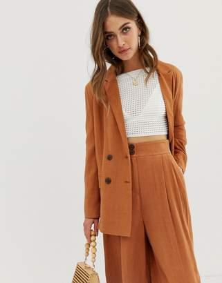 Asos Design DESIGN gutsy linen relaxed blazer-Brown
