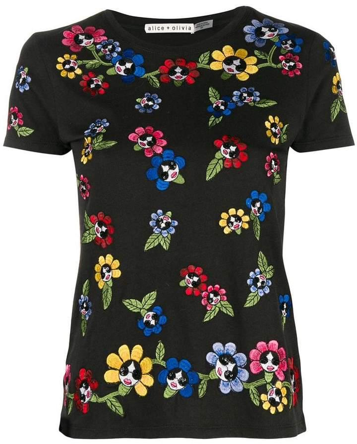 Alice + Olivia Alice+Olivia embroidered floral T-shirt