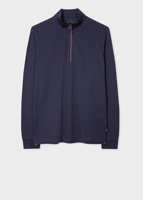 Paul Smith Men's Navy Half-Zip Long Sleeve Cotton Funnel Neck Top