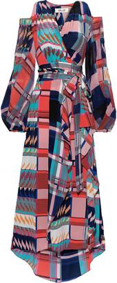 Diane von Furstenberg Lyra Cold-shoulder Chiffon-paneled Silk Crepe De Chine Midi Wrap Dress