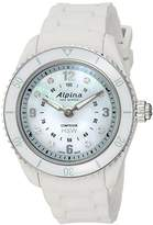 Alpina Women's 'Comtesse' Swiss Quartz Stainless Steel and Rubber Fitness Watch, Color:White (Model: AL-281MPWND3V6)