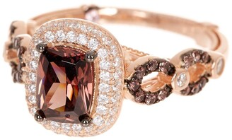 Suzy Levian Rose Gold Plated Sterling Silver CZ Halo Ring