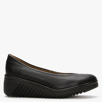 Fly London Leny Black Leather Wedge Shoes