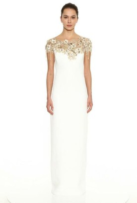 Marchesa Crepe Illusion Neckline Column Gown
