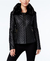 INC International Concepts Faux-Fur-Trim Faux-Leather Quilted Jacket, Only at Macy's