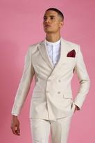 boohoo Mens Cream Skinny Plain Double Breasted Suit Jacket, Cream