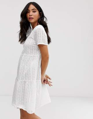 Pieces broderie smock mini dress-White
