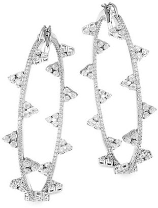Adriana Orsini Silvertone Cubic Zirconia Bezel-Set Medium Hoop Earrings
