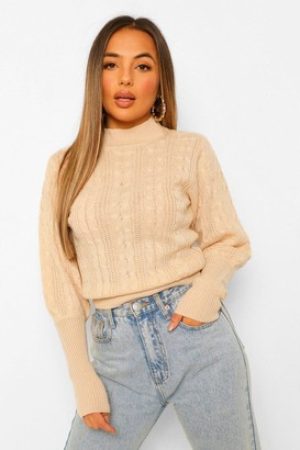 boohoo Petite Cable Knit High Neck Puff Sleeve Jumper