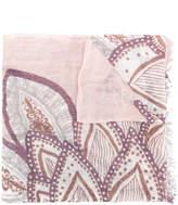Hemisphere floral print fringed hem scarf