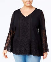 Style&Co. Style & Co Plus Size Lace-Overlay Peplum Tunic, Created for Macy's
