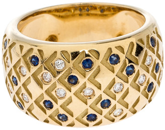 Mauboussin Salome Paved Diamonds and Sapphires 18K Yellow Gold Ring Size EU 52