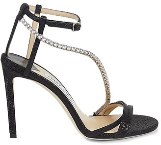 Jimmy Choo Jeweled Ankle-Strap Leather Stiletto Sandals