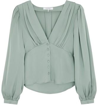 Frame Empire Pleat light green silk blouse