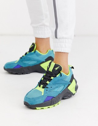 Reebok Aztrek Double trail shoe in teal and yellow