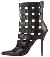 Manolo Blahnik Leather Cage Ankle Boots