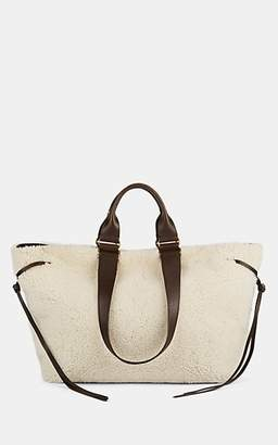 Isabel Marant Women's Wardy Shearling Shopper Tote Bag - White