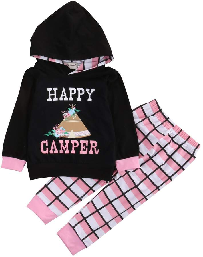 Camper Charm Kingdom Baby Girls Happy Print Long Sleeve Shirt Hoodie and Pants Outfits Set