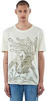 Gucci Men's Bird Print Linen T-shirt In Cream