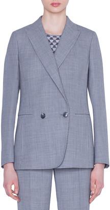 Akris Double-Breasted Plaid Jacket