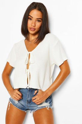 boohoo Lace Up Short Sleeve Crop Cardigan