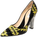 Moschino 100mm Caution Printed Leather Pumps