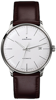 Junghans 027/4310.00 Meister Classic Self-winding Stainless Steel Leather Strap Watch, Brown/white