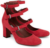 Tabitha Simmons Red Suede Buckled Ginger Heels