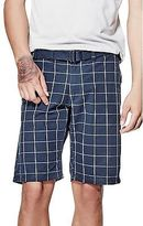 GUESS Men's Thae Plaid Flat-Front Shorts