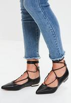 Missguided Black Pointed Flat Shoes, Black