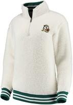 Unbranded Women's Cream Oregon Ducks Varsity Banded Sherpa Quarter-Zip Pullover Jacket