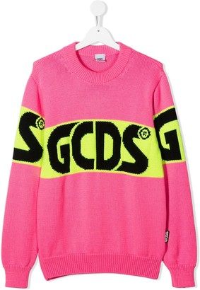 Gcds Kids TEEN logo-jacquard sweater
