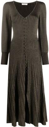 Sandro Paris Metallic Ribbed-Knit Dress