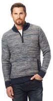 Mantaray Blue Space Dye Funnel Neck Sweater With Wool