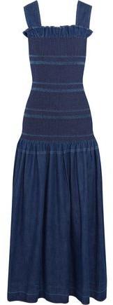Stella McCartney Ruffled Smocked Denim Maxi Dress