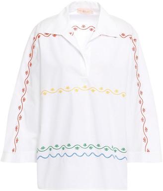 Tory Burch Embroidered Cotton-poplin Tunic