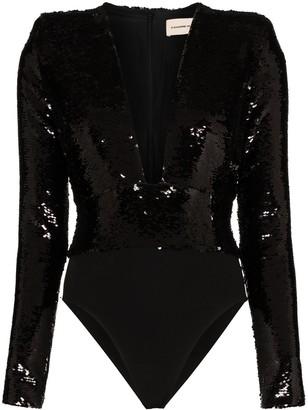 Alexandre Vauthier Plunge Line Sequin Bodysuit