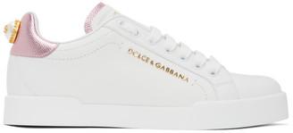 Dolce & Gabbana White and Pink Lettering Portofino Sneakers