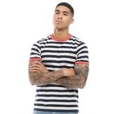 Farah Mens Belgrove Stripe Short Sleeve T-Shirt Red Coat