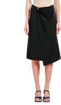 Bottega Veneta Draped Wrap-Front Gabardine Skirt