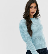 Asos DESIGN Petite chunky rib balloon sleeve sweater in lofty yarn