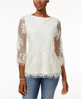 Charter Club Petite Lace Top, Only at Macy's