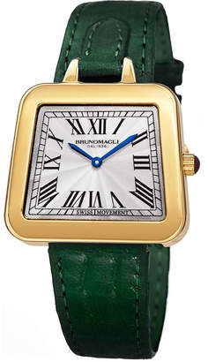 Bruno Magli 34mm Emma Trapezoid Watch w/ Green Strap