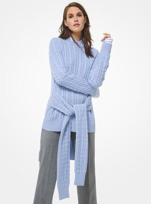 Michael Kors Cable Cashmere Tie-Waist Sweater